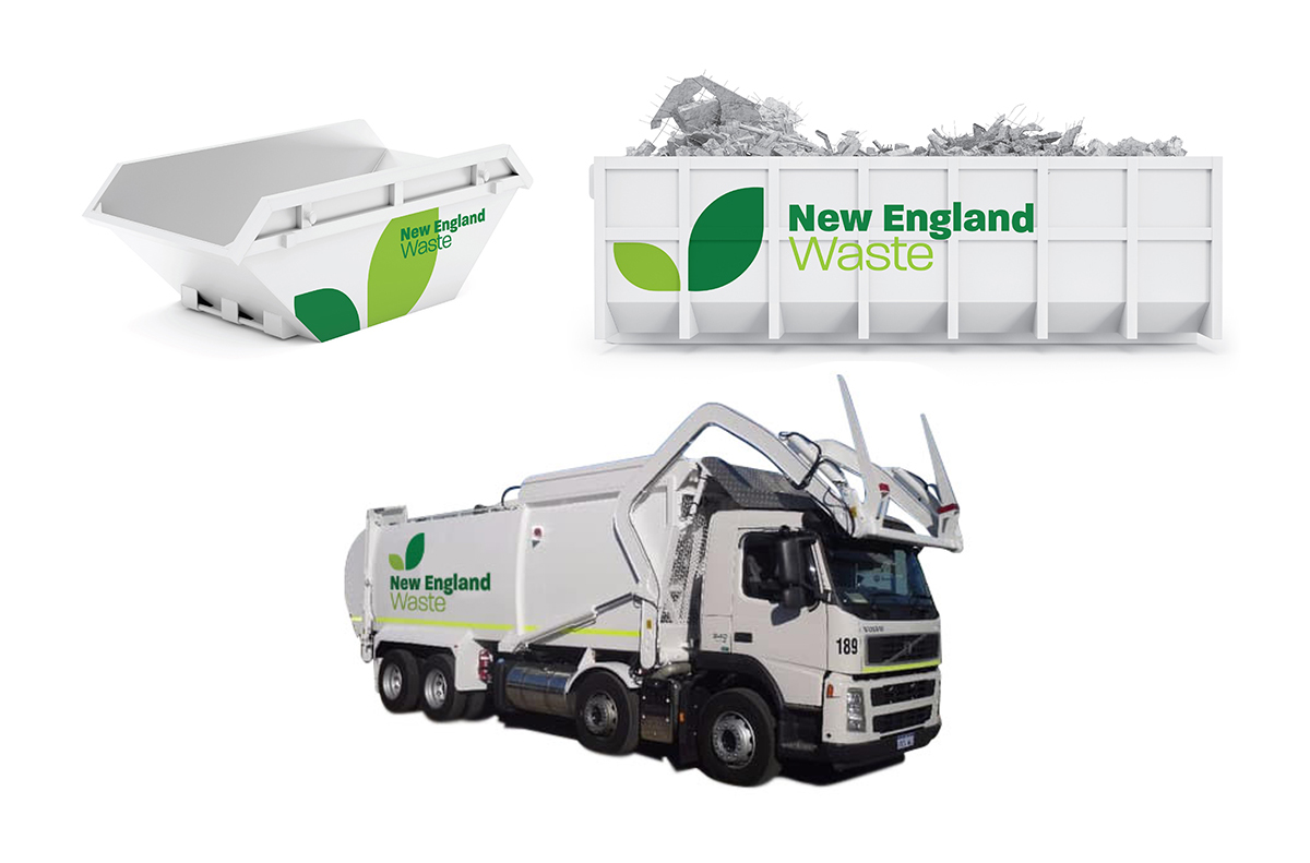 New England Waste skip bins, hook bins and front fork collection