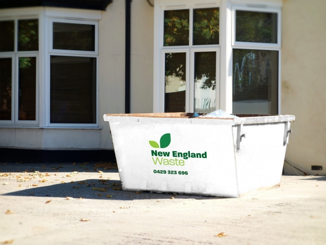 New England Waste Skip Bin on homesite
